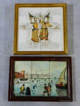 A framed painting on ceramic tiles, dancing Thai figures and a similar painting, skating figures