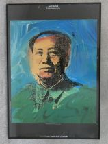 A framed and glazed exhibition poster, Chairman Mao from the Andy Warhol Venice restrospective 1990.