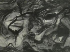 Three unframed etchings, abstract studies by contemporary American artist Walter Gabrielson,