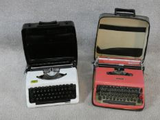 Two cased vintage portable typewriters. An Olivetti Lettera 22 and a Brother 100 model each with