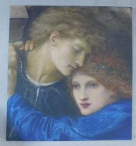 A large print laid on board, a detail from Love Among the Ruins by Edward Burne-Jones. H.190xW.178cm