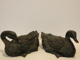 Two Japanese bronze figures of resting ducks. Intricately detailed. L.30x W.19 D.19cm