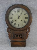 A 19th century walnut cased drop dial wall clock and face. H.70xW.41cm (case only, no movement)
