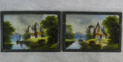 A pair of late 19th century reverse paintings on glass in ebonised frames, figures and boats in