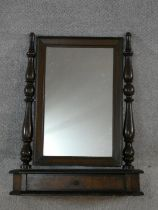 A 19th century Continental burr elm swing toilet mirror with drawer fitted to the base with original