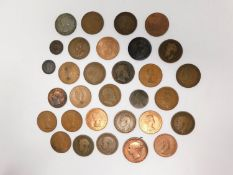 A collection of fourty five copper coins. Including twenty two one penny coins, Jersey 1/12 of a