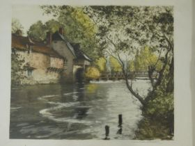 Paul Emile Lecomte (1877 - 1950) A gilt framed and glazed etching, French rural weir pool, signed by