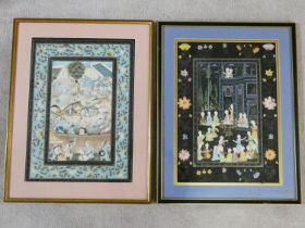 Two antique framed and glazed Indo-Persian watercolours on parchment depicting a hunt with men