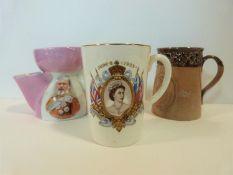 A Doulton Lambeth mug to commemorate Queen Victoria's diamond jubilee, an Edward VII shaving mug and