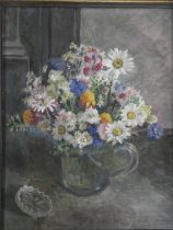 Constance Morton (1905-1992) a framed oil on canvas, signed and inscribed to the reverse; Flowers in