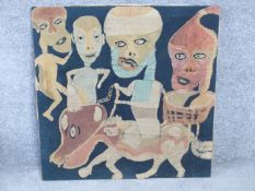 A batik with paint on fabric by Austro-Nigerian artist Chief Susanne Wenger MFR, also known as