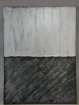 A large contemporary unframed oil on canvas, abstract composition by Piero Montanelli, monogrammed.