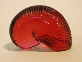 """A Baccarat red crystal """"Nautile"""" shell signed Baccarat and has makers stamp. 4.5x6cm"""