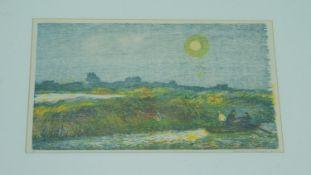 A framed and glazed artist proof screen print by Marianne Fox Ockinga (b.1943). Titled 'Tuscany',