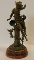 A 19th century French spelter figure, young girl in flowing robes with plaque marked Papillon on a