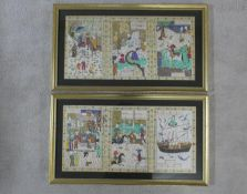 Two framed and glazed Indo-Persian silk paintings depicting various scenes including a game of polo,