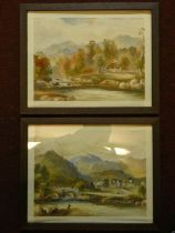A pair of 19th century oak framed and glazed watercolours, rural scenes, unsigned. 39x31cm
