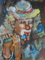 A framed oil on canvas, portrait study of a clown playing a flute. H.72xW.61cm