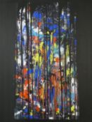 """Terence Howe (B.1943) A large unframed oil on canvas, abstract composition, """"Gothic"""" signed and"""