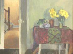 A framed oil on canvas, Green room, 1984, after Caroline Osborn. 47x40cm