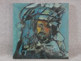 A framed oil on canvas of a warrior, indistinctly signed. H.41xW.40cm
