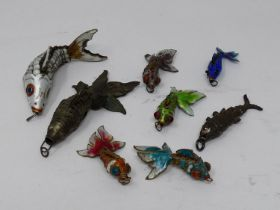 A miscellaneous collection of Chinese articulated fish pendants to include, bronze, silver and multi