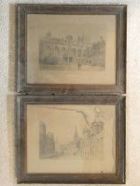 A pair of 19th century framed and glazed lithographs, mansion and cityscape, unsigned. 40x33cm
