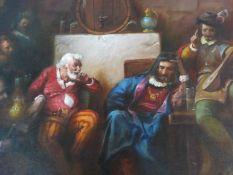 A gilt framed oil on canvas, medieval court scene, signed Gabris. H.74xW.105cm