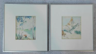 Two framed and glazed watercolours, Swiss landscapes, unsigned. 33x36cm