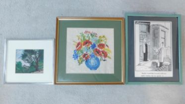 A framed and glazed floral tapestry, a print of a cartoon by Cookson and another print of a