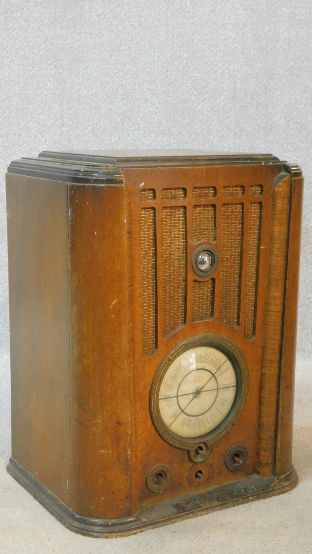 A vintage Pilot Radio Ltd valve radio in burr walnut Art Deco case. H.50 W.39 D.28cm - Image 2 of 10