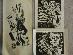 Three limited edition woodblock prints by American surrealist artist Walter Gabrielson. All signed