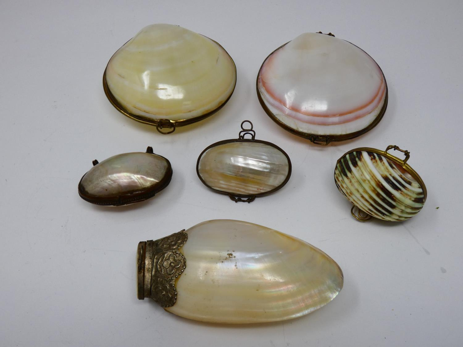 A collection of sea shell trinket boxes, three made from clam shells and three made from sections of