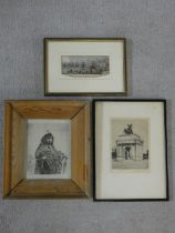 A framed and glazed etching of Wellington Arch, indistinctly signed, a 19th century coloured etching
