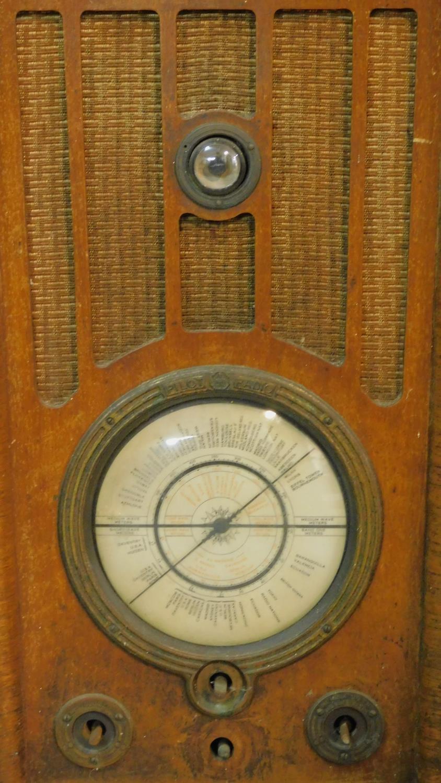A vintage Pilot Radio Ltd valve radio in burr walnut Art Deco case. H.50 W.39 D.28cm - Image 3 of 10