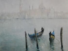 An unframed oil on canvas, Venetian scene, gondoliers with St, Mark's in the distance, signed and