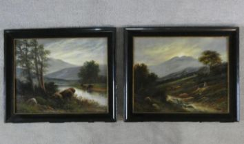 Henry Graham (fl. 1770-1808) A pair of framed oils on canvas, cattle and figures in a Highland