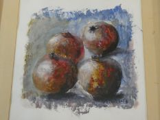 A framed and glazed acrylic still life study of pomegranates, indistinctly signed. H.69xW.49cm
