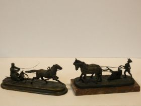 A bronze figure group of a Russian driving a horse drawn sledge and a similar of a young 19th