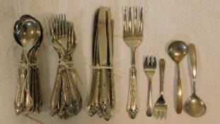 A Epzing repousse design silver plated Italian cutlery set and other silver plated cutlery.