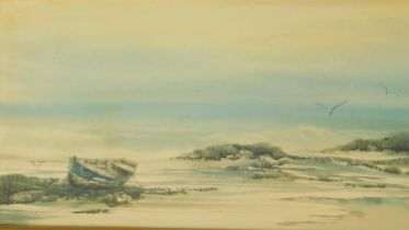A framed and glazed watercolour, seascape, indistinctly signed, dated '81. 73x38cm