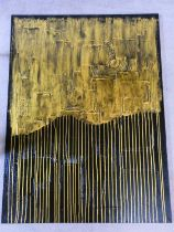 A large contemporary unframed oil on canvas by Piero Montanelli, abstract composition, monogrammed.