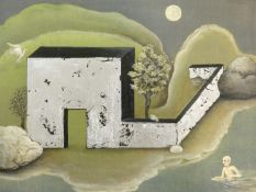An acrylic on canvas on board and silver leaf, To the self-same tree IV, after Sunu Patel. 31x26cm