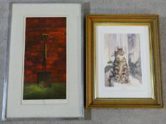 """A framed and glazed signed limited edition print, seated cat entitled """"Waiting"""" and another framed"""