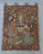 A French medieval style wall hanging tapestry, Le Roman de la Rose, for the Franklin Mint, label