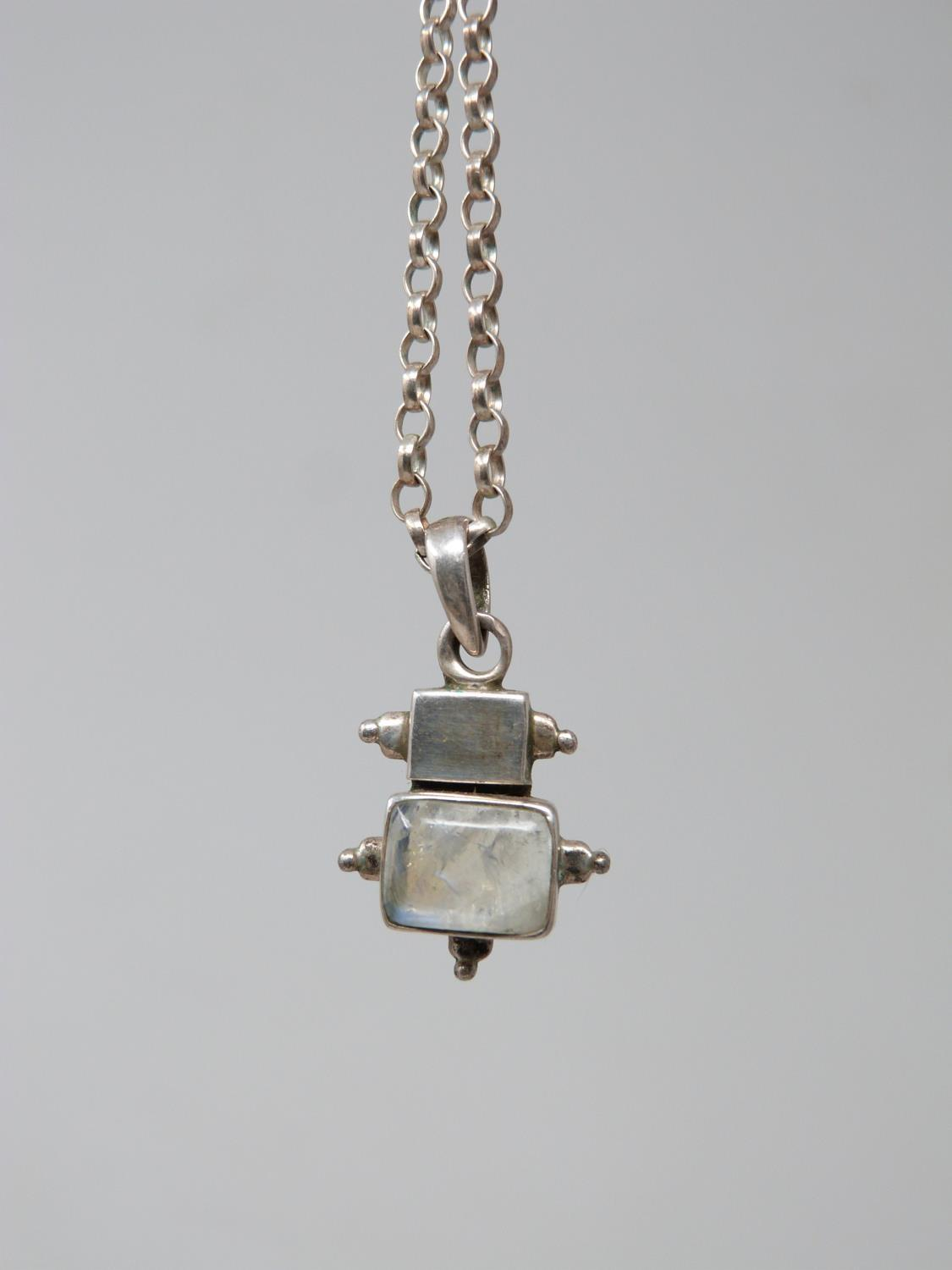 A collection of silver jewellery. Including a silver charm bracelet with heart padlock, a rainbow - Image 5 of 6