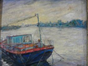 A gilt framed oil on card, A Chiswick Houseboat, indistinctly signed, label to the reverse. H.46xW.