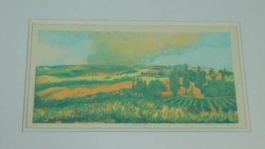 A framed and glazed artist proof screen print by Marianne Fox Ockinga (b.1943). Titled 'Burning