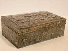 A Japanese silver plated lidded box with all over iris decoration in relief fitted with cedar wood