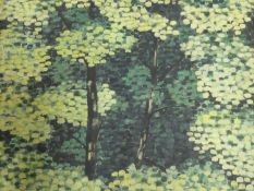 Simon Dobbs, unframed oil on canvas, trees in a forest, signed and dated 1950. 115x100cm